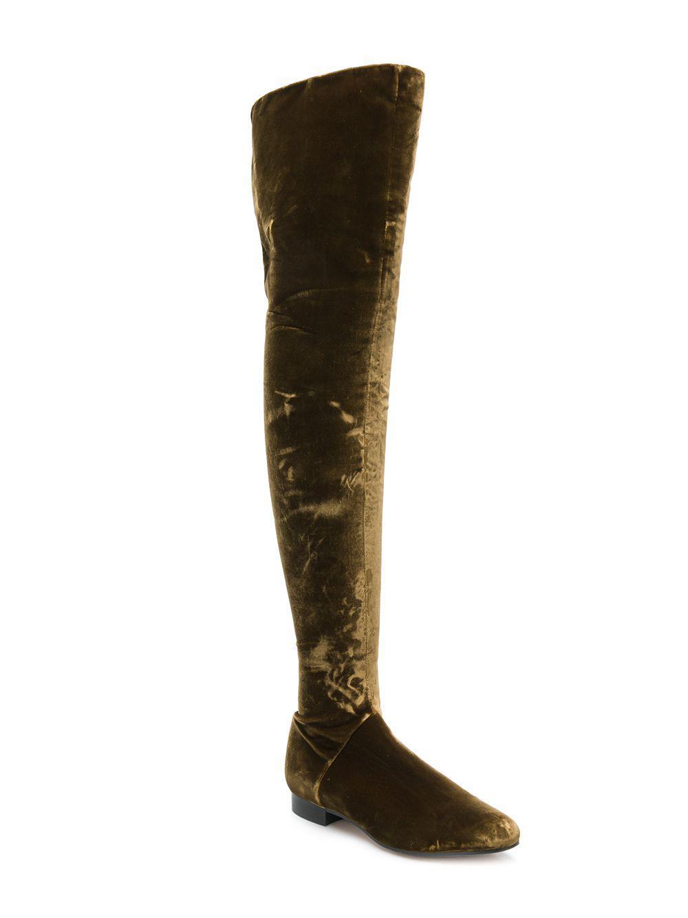 Alberta Ferretti Velvet Over The Knee Boots in Brown
