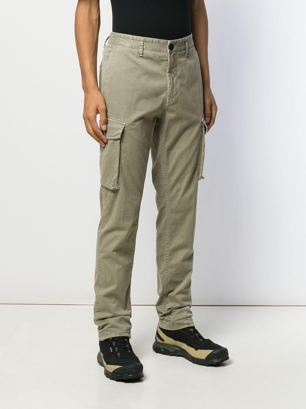Stone Island Cotton Straight Leg Cargo Trousers in Green ...
