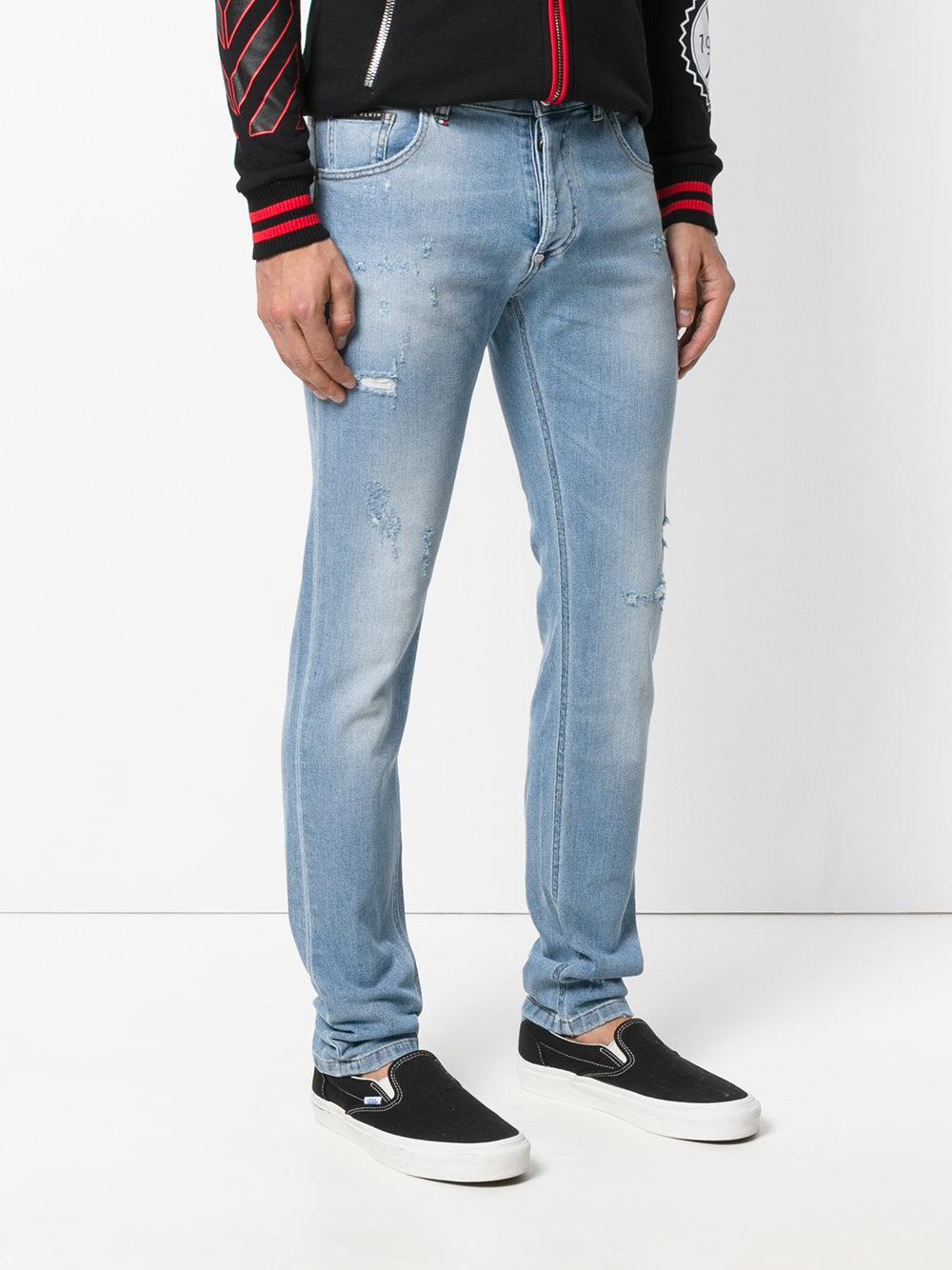 lyst philipp plein classic skinny jeans in blue for men. Black Bedroom Furniture Sets. Home Design Ideas