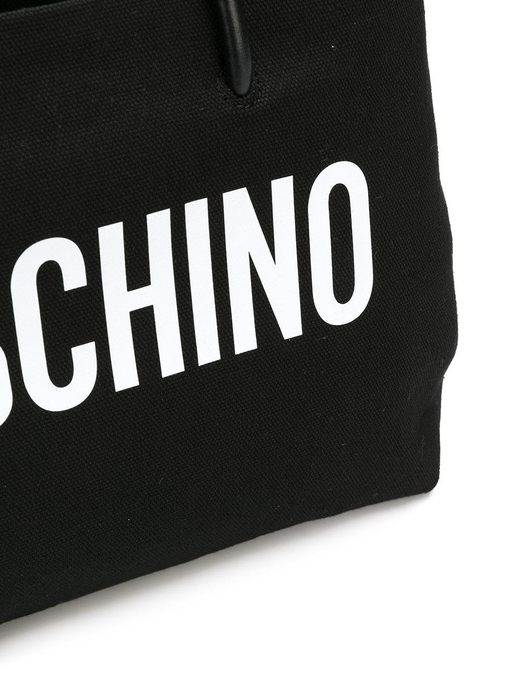 Moschino Canvas Medium Logo Tote in Black