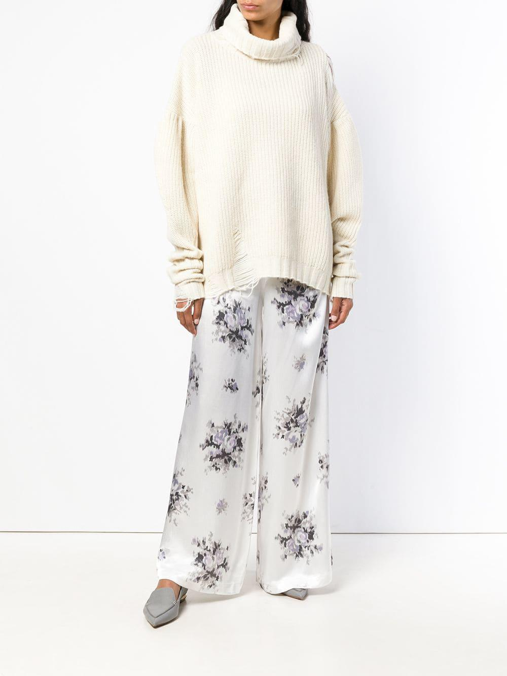 5586bd68c18 Ganni Floral Print Trousers in White - Lyst