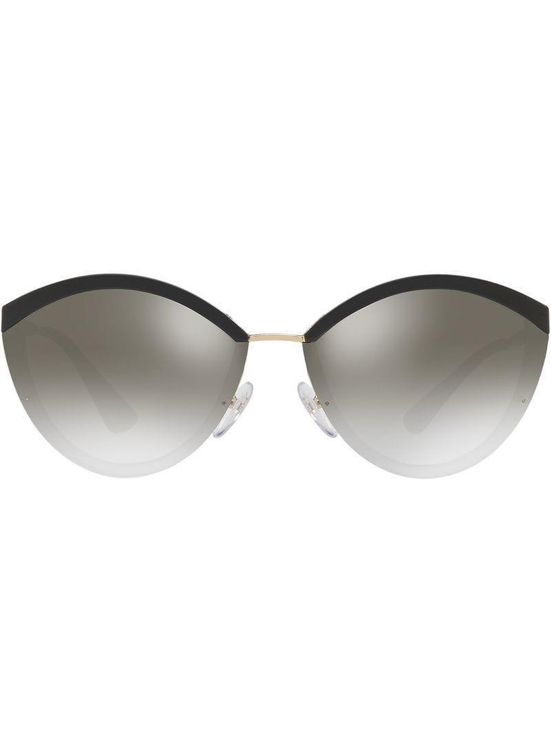 a4f7d77d7d5 Prada Oval Shaped Sunglasses in Black - Lyst