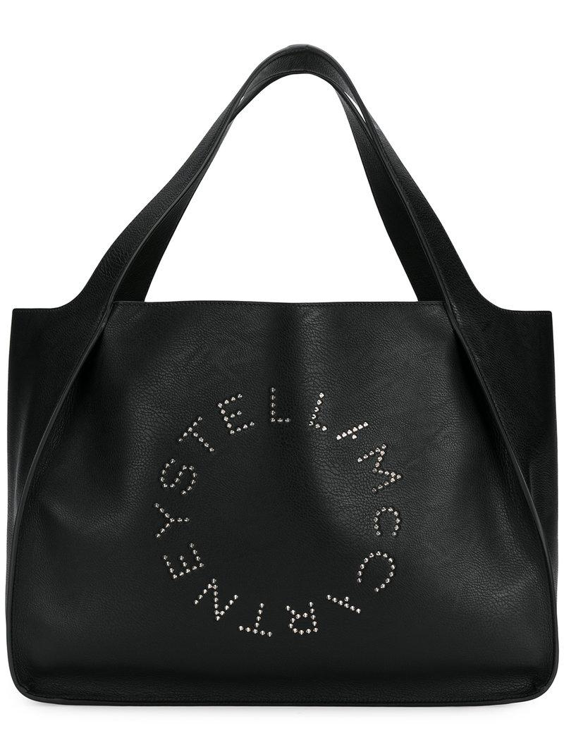 a1bf1c113667 Lyst - Stella McCartney Studded Logo Tote in Black - Save 7%