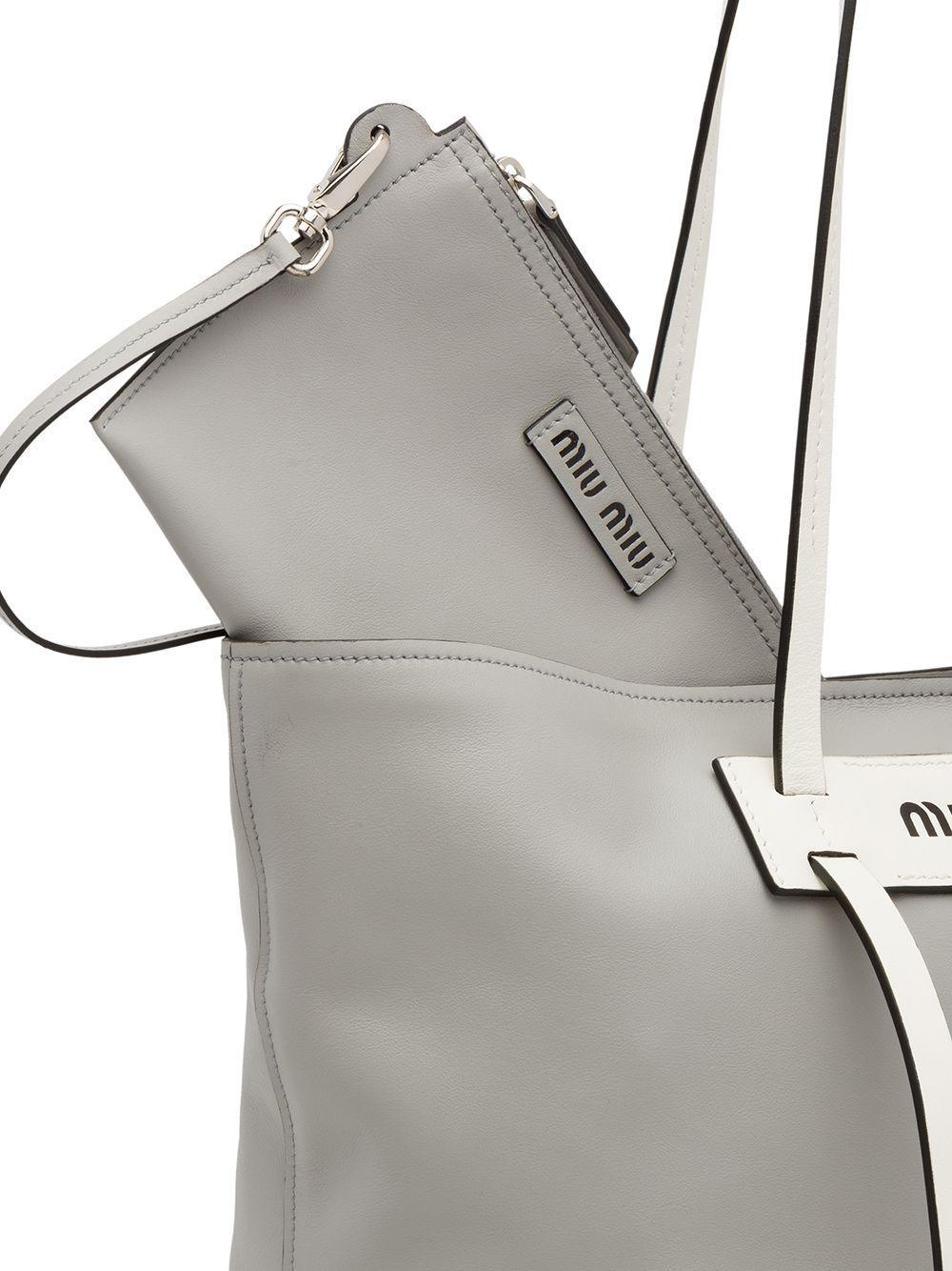 Miu Miu Leather Grace Lux Tote Bag in Grey (Grey)