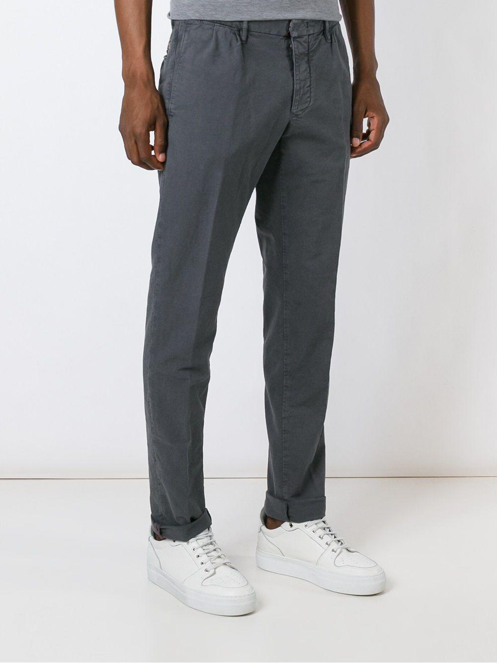 Incotex Cotton Straight Leg Trousers in Grey (Blue) for Men