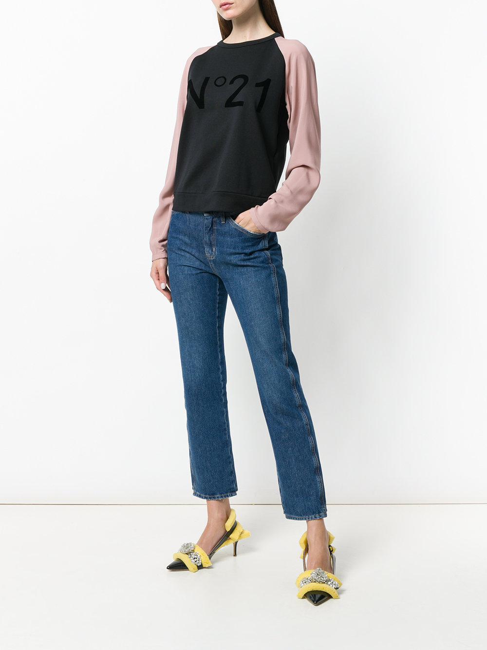 N°21 Cotton Branded Raglan Sweatshirt in Black