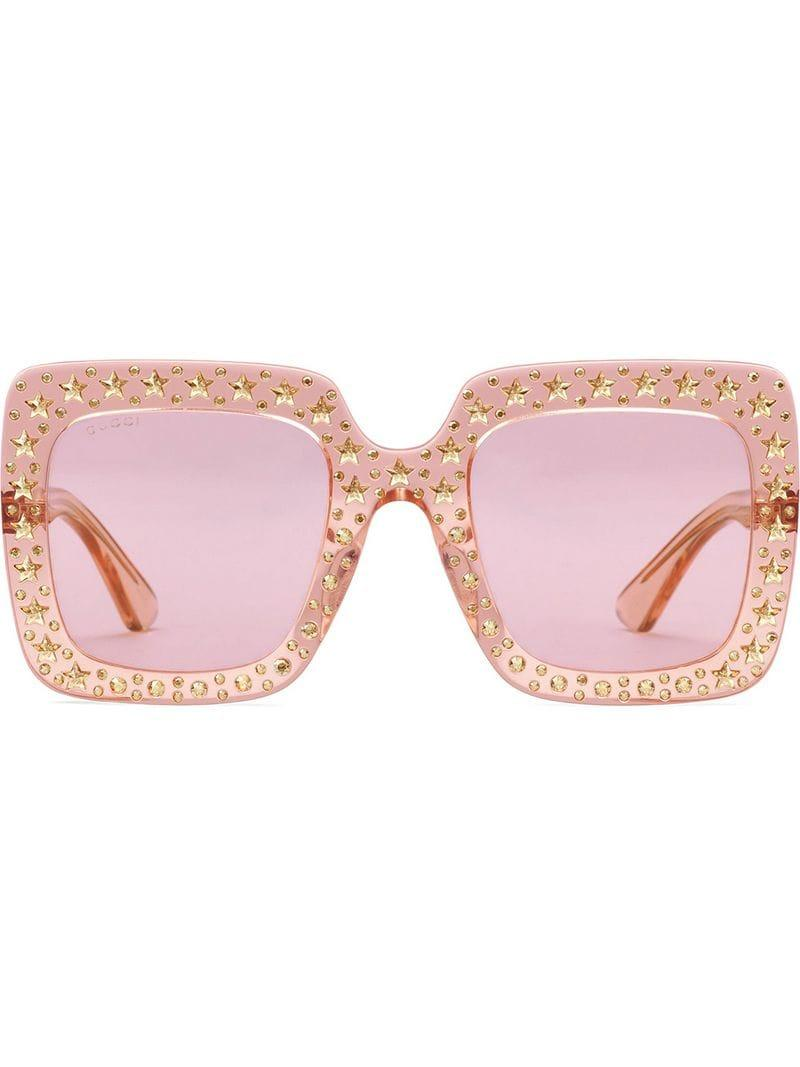 cb5ef3455c165 Lyst - Gucci Oversize Square Sunglasses With Crystals in Pink