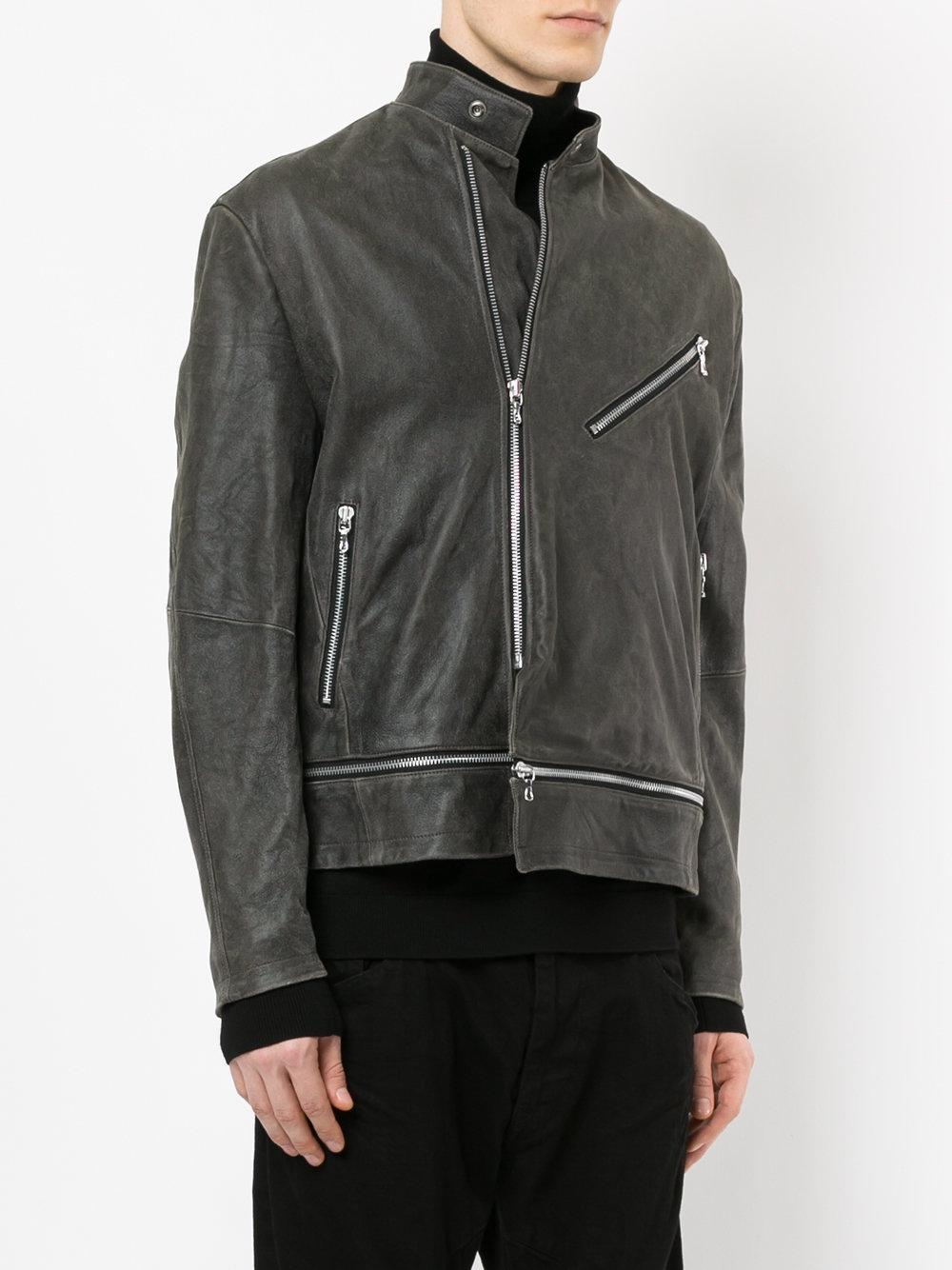 Julius Suede Biker Jacket in Grey (Grey) for Men