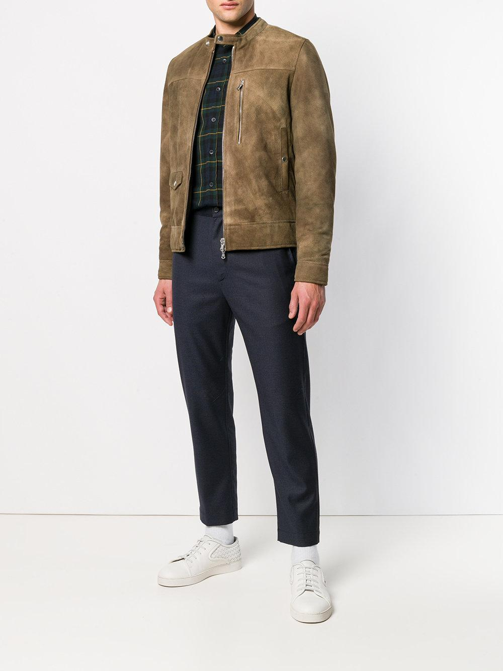Mauro Grifoni Brushed Leather Jacket in Brown for Men