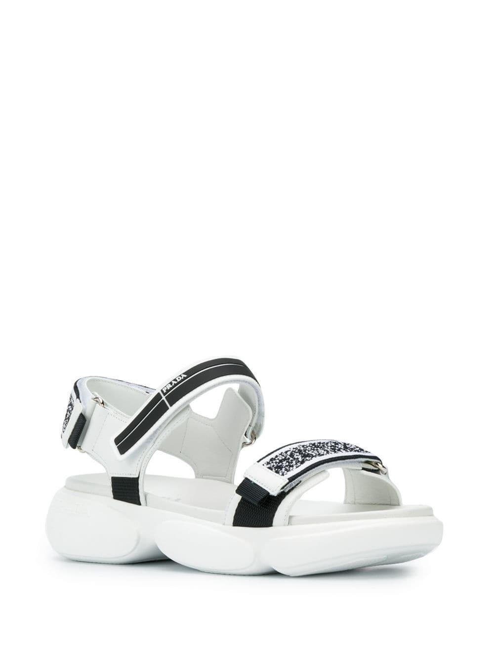 1310b3e289e4 Lyst - Prada Touch Strap Sandals in White
