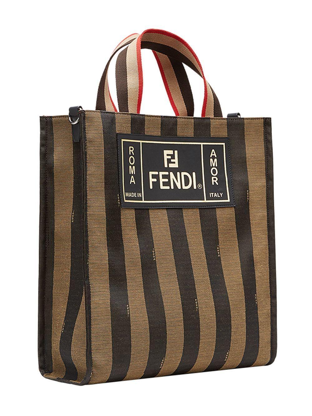 b825d6befae6 Lyst - Fendi Striped Tote Bag in Brown for Men