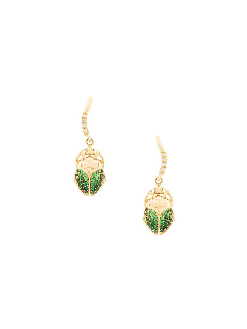 Buy Cheap Clearance Aurelie Bidermann 18kt gold mini Scarab tsavorite and diamond earrings Cheap Low Price Fee Shipping Wholesale Online With Credit Card 8qIg1bumBg