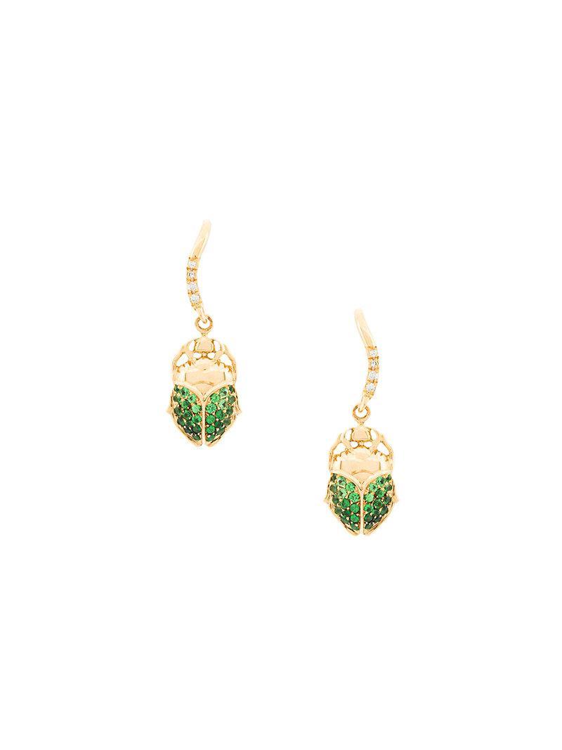18kt gold & diamond drop earrings Aur uM37W