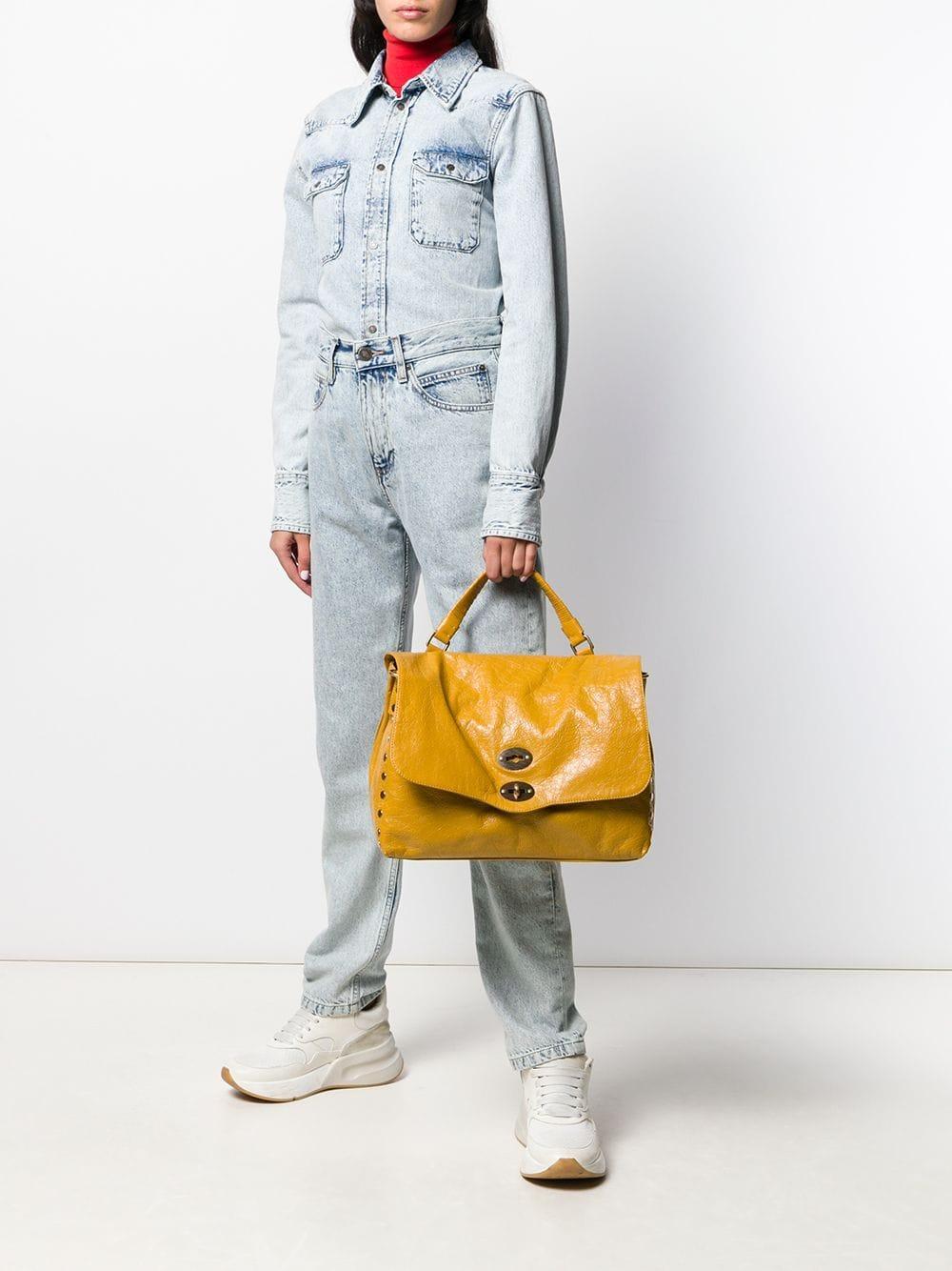 Zanellato Leder Mittelgroße 'Postina' Handtasche in Gelb egaxK