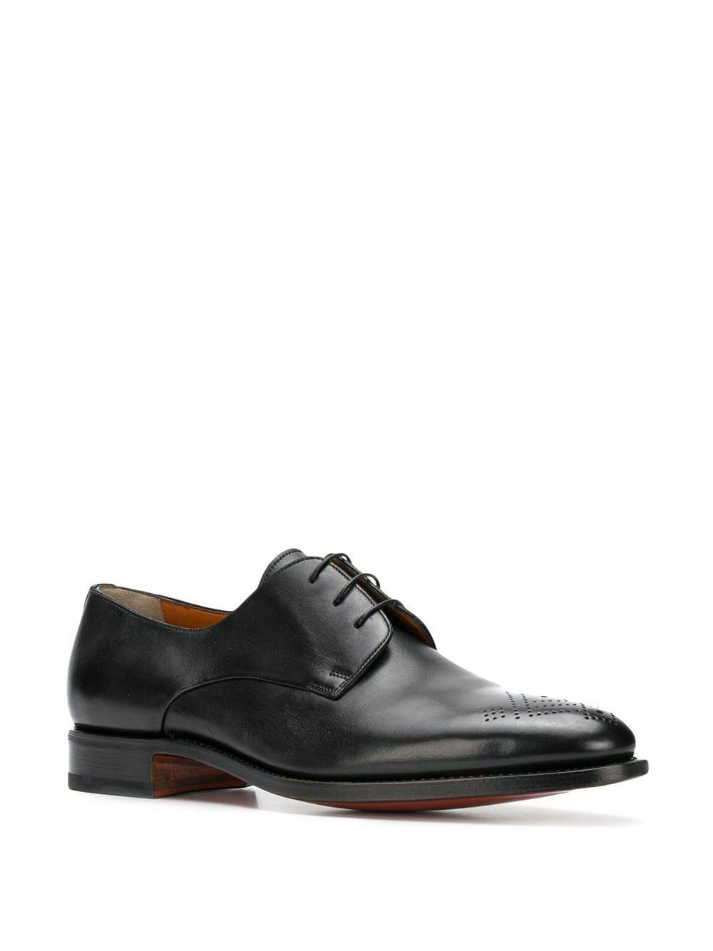 Santoni Leather Lace-up Oxford Shoes in Black for Men