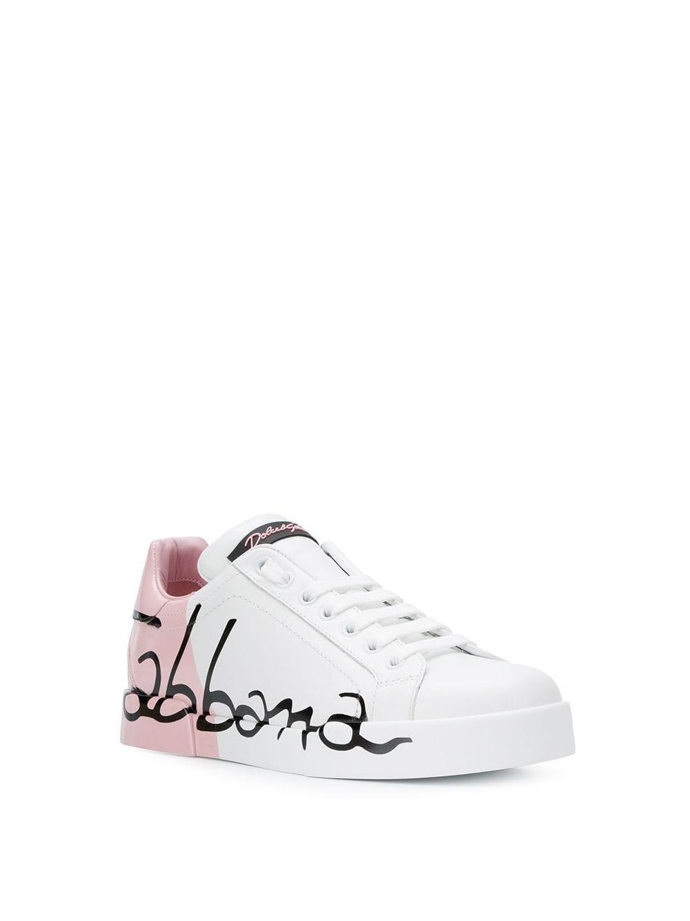 Zapatillas Portofino Dolce & Gabbana de Cuero de color Blanco