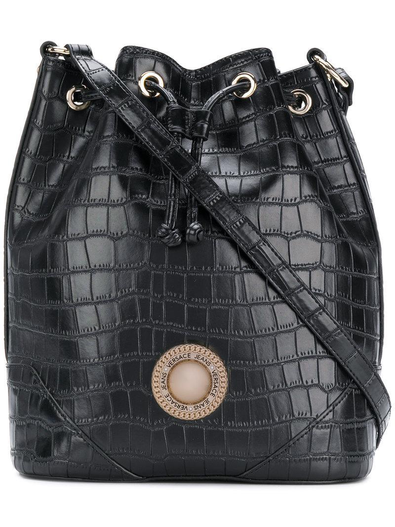 Versace Jeans Croco-embossed Bucket Bag in Black - Lyst fbfa4a4a2c