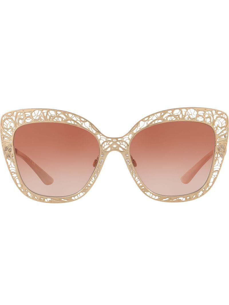 f68ea93f0414 Dolce   Gabbana Cutwork Cat Eye Sunglasses in Metallic - Lyst