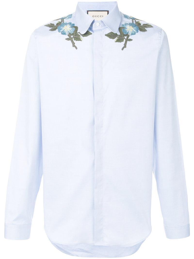 8c9f7b2c07d Lyst - Chemise à fleurs brodées Gucci pour homme en coloris Bleu