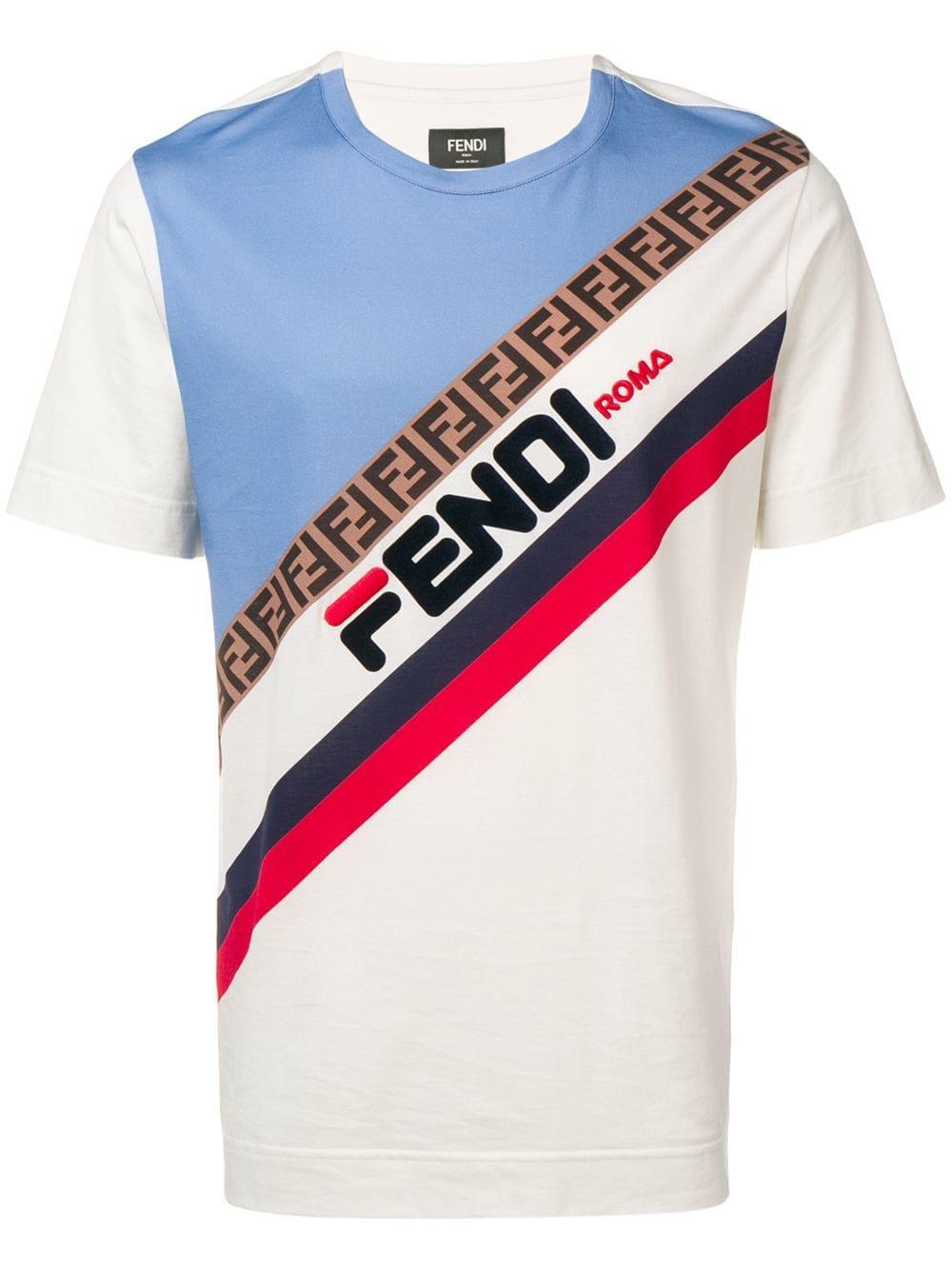 09f6b1e45040 Camiseta con logo estampado Fendi de hombre de color Multicolor. Ver en  pantalla completa