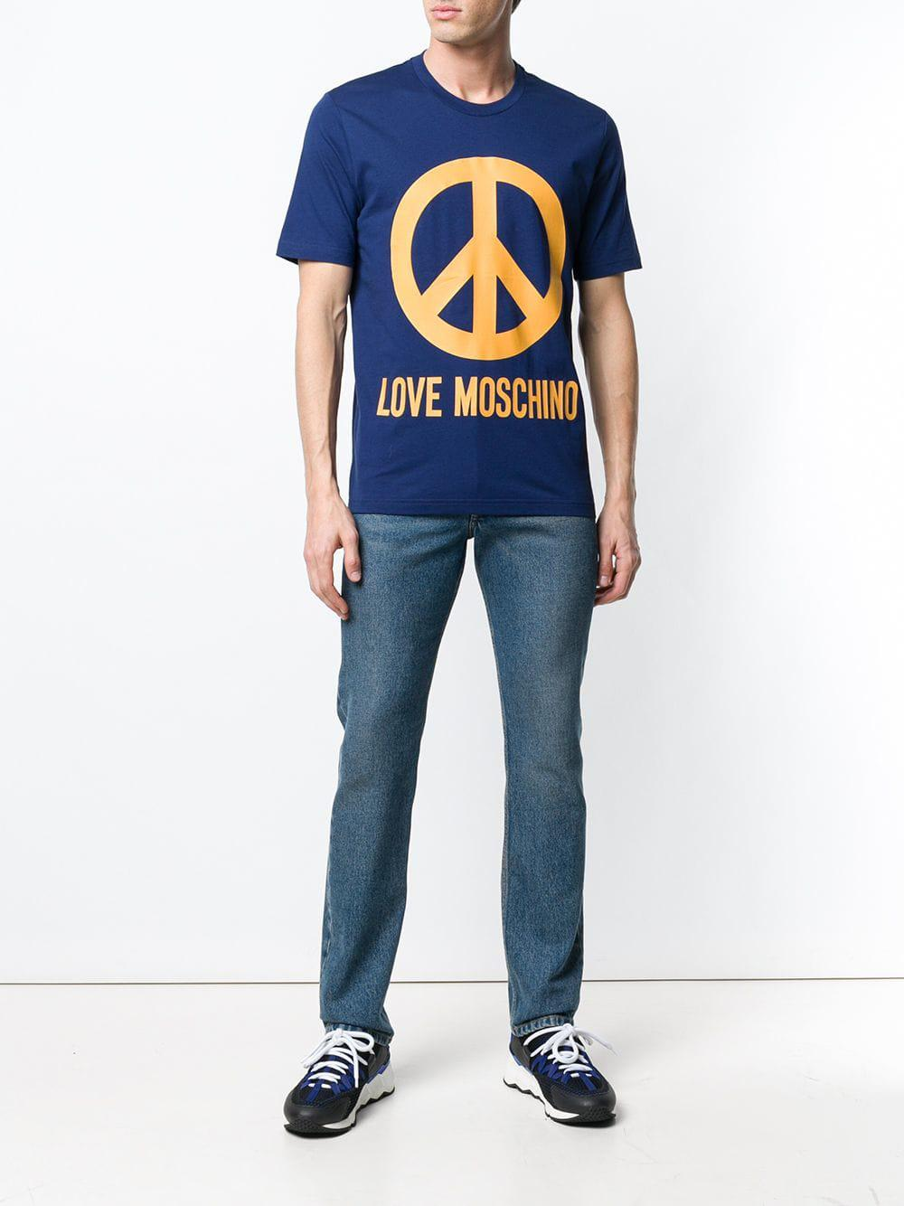 Love Moschino Blue /& Yellow Peace Logo T-Shirt