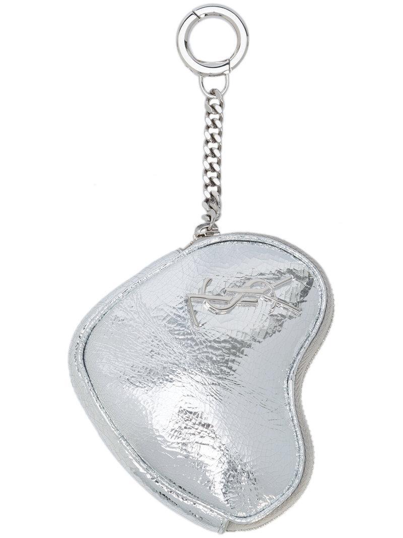 Saint Laurent Love key holder case - Metallic uElaL8