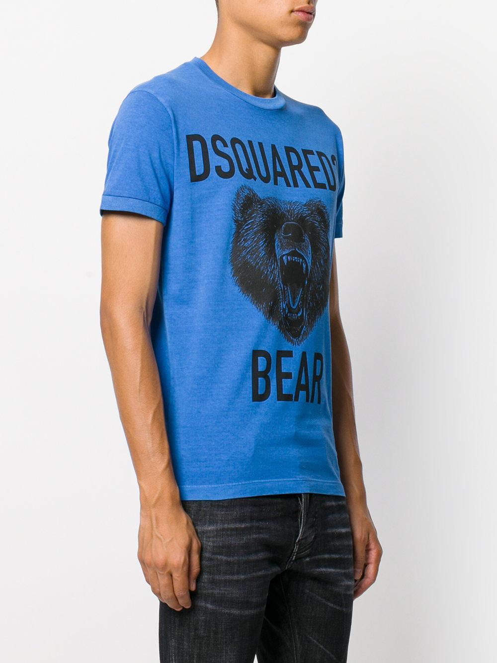 Dsquared 178 Bear Print T Shirt In Blue For Men Lyst