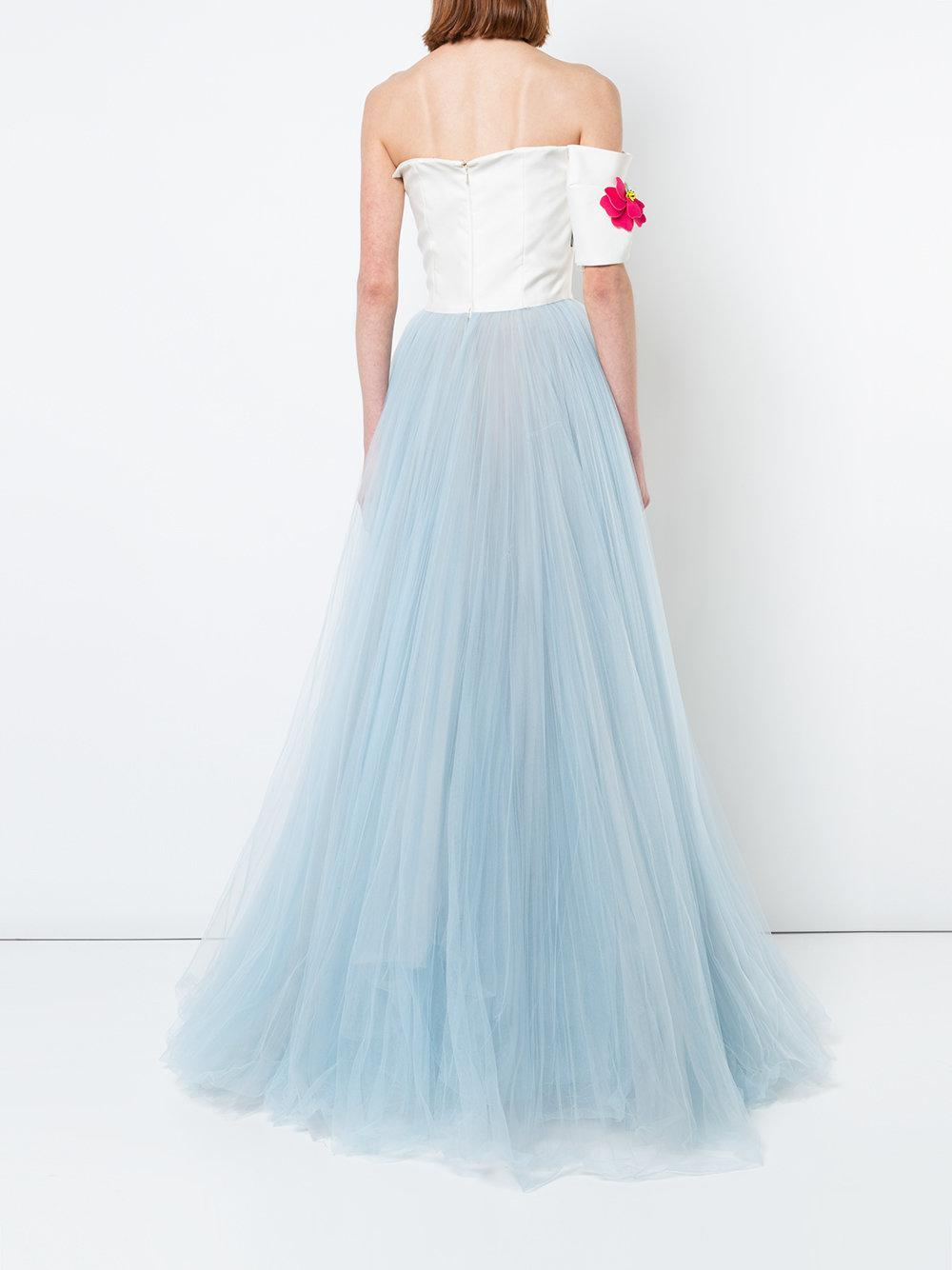 Carolina Herrera Silk Floral Embroidered Ballgown in White