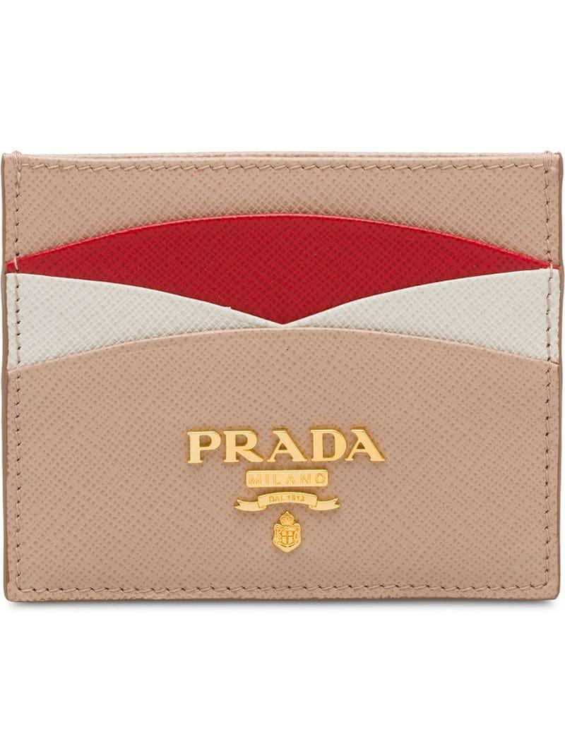 7a4ef9b653b0 Prada - Pink Saffiano Leather Credit Card Holder - Lyst. View fullscreen