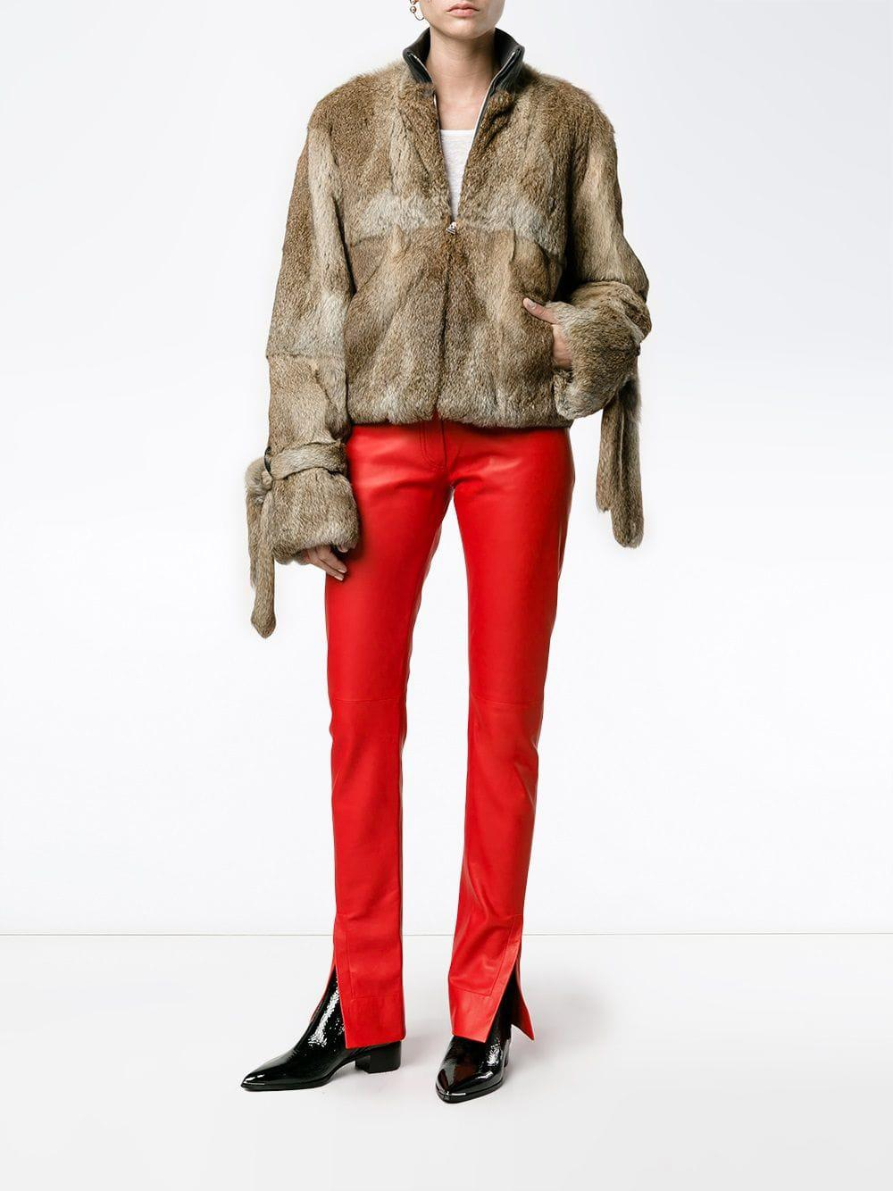 Loewe Straight Leather Pants in Red (Blue)