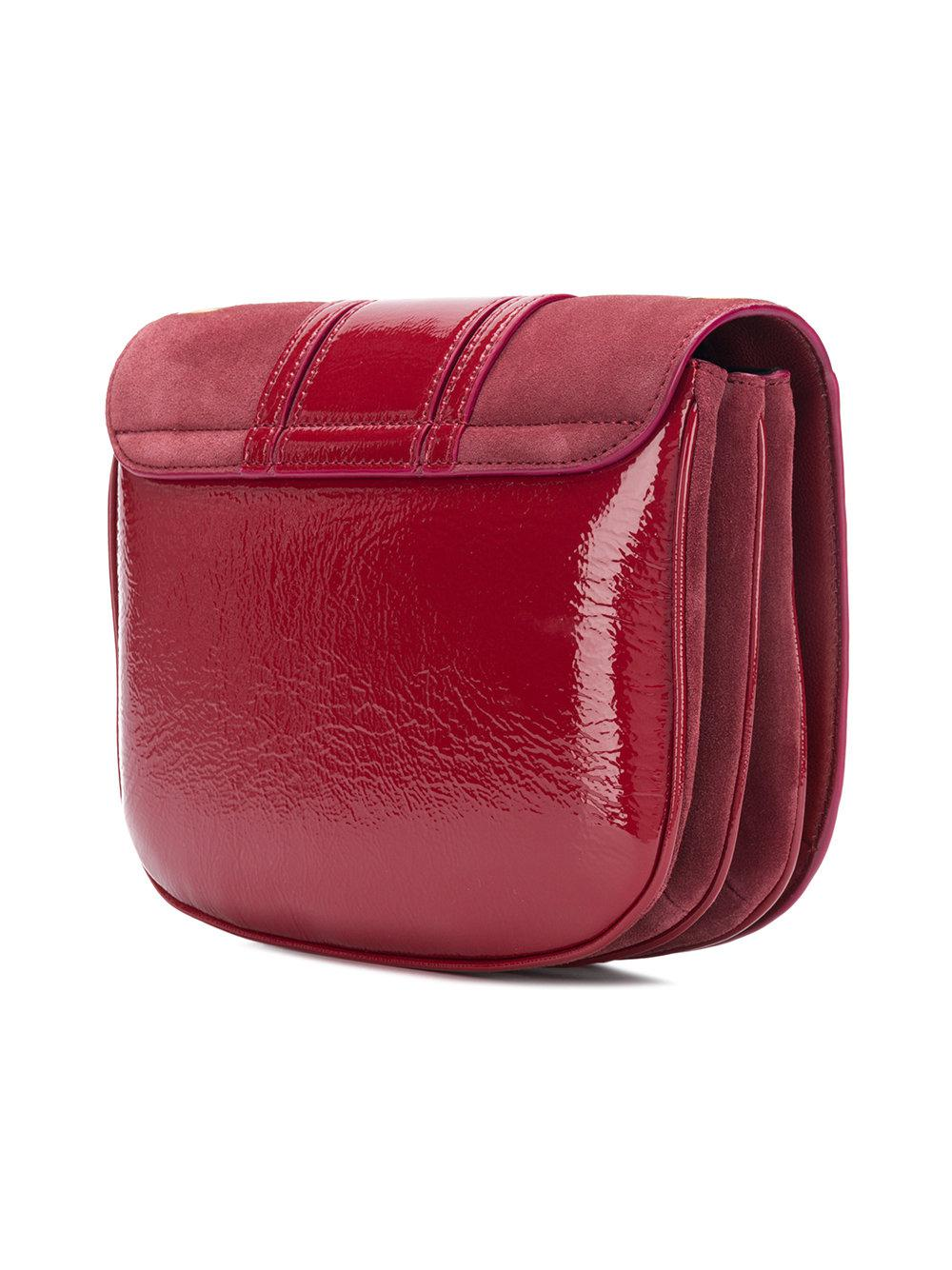 See By Chloé Leather Hana Cross Body Saddle Bag in Red