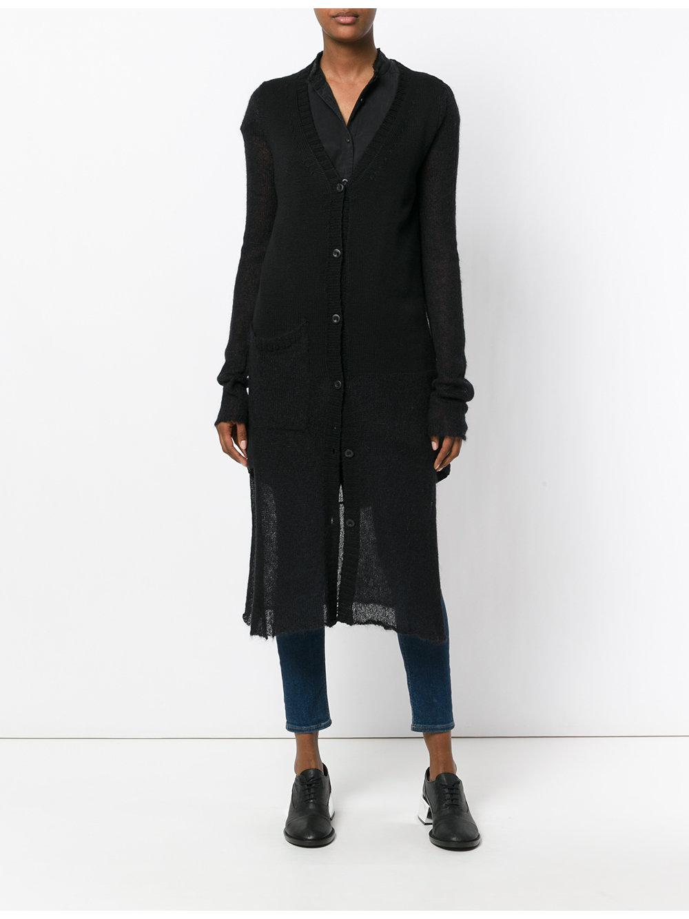 Lost and found rooms Semi-sheer Long Cardigan in Black | Lyst