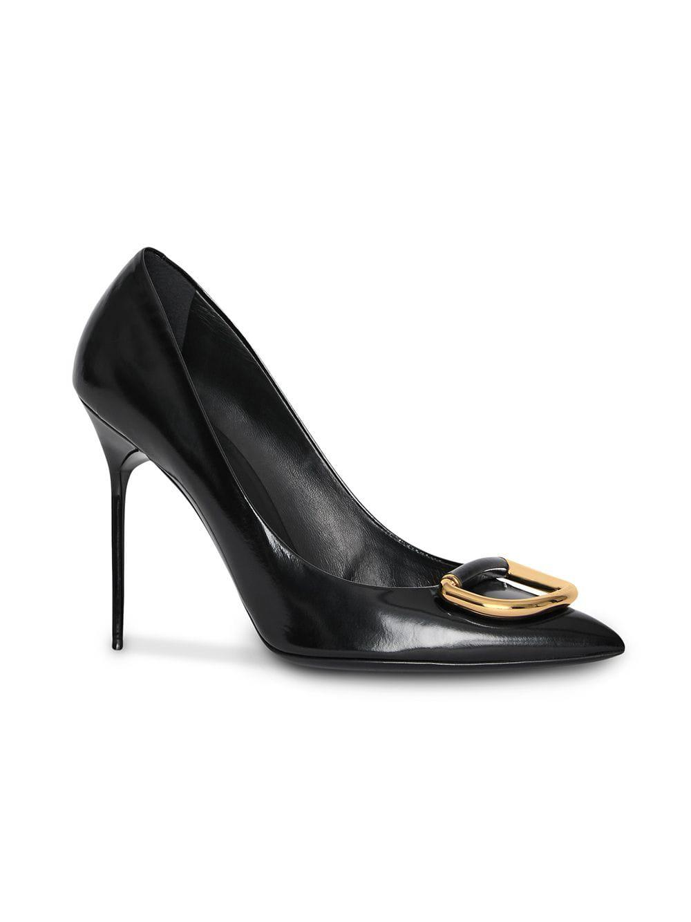 7f335e6262f4 Lyst - Burberry The Patent Leather D-ring Stiletto in Black