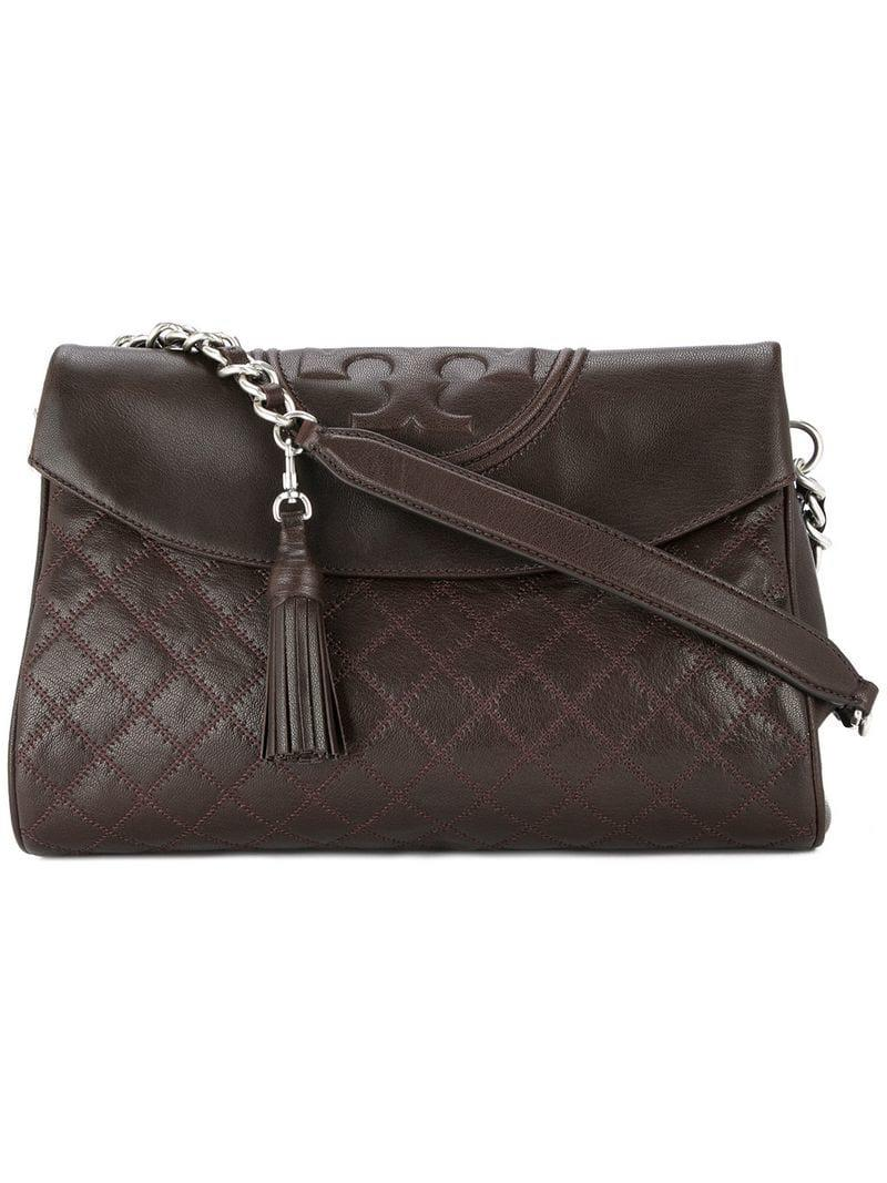Tory Burch Leather Fleming Distressed Foldover Hobo Bag In