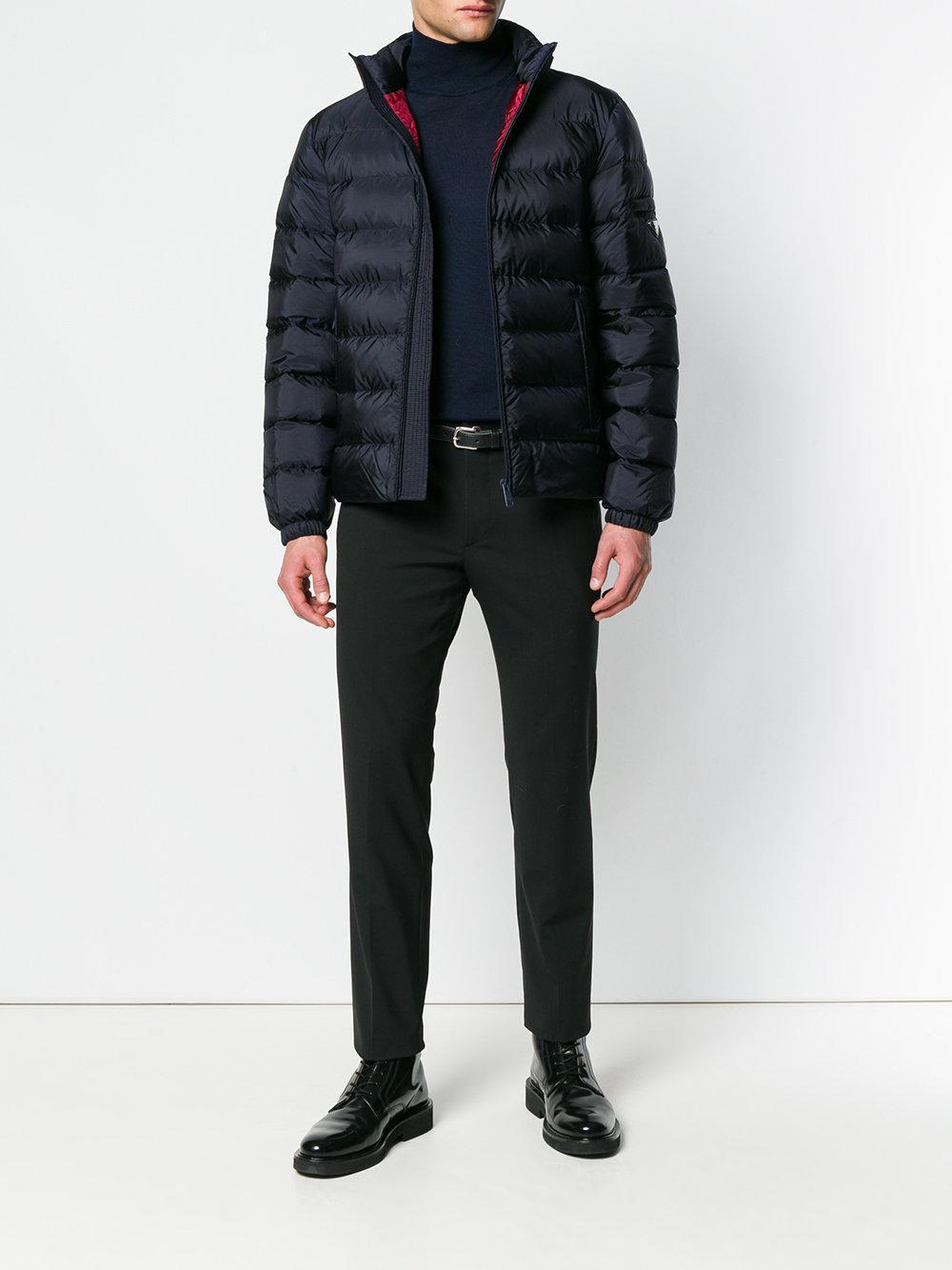 Prada Goose Padded Logo Jacket in Blue for Men