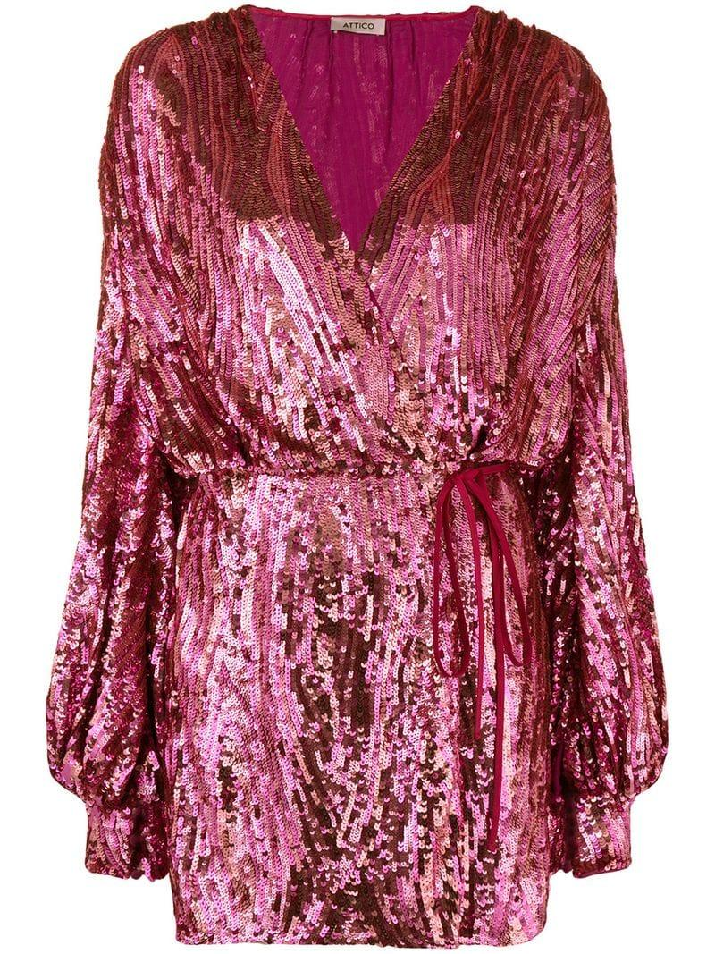 The Attico Synthetic Sequin Wrap Dress In Pink Lyst