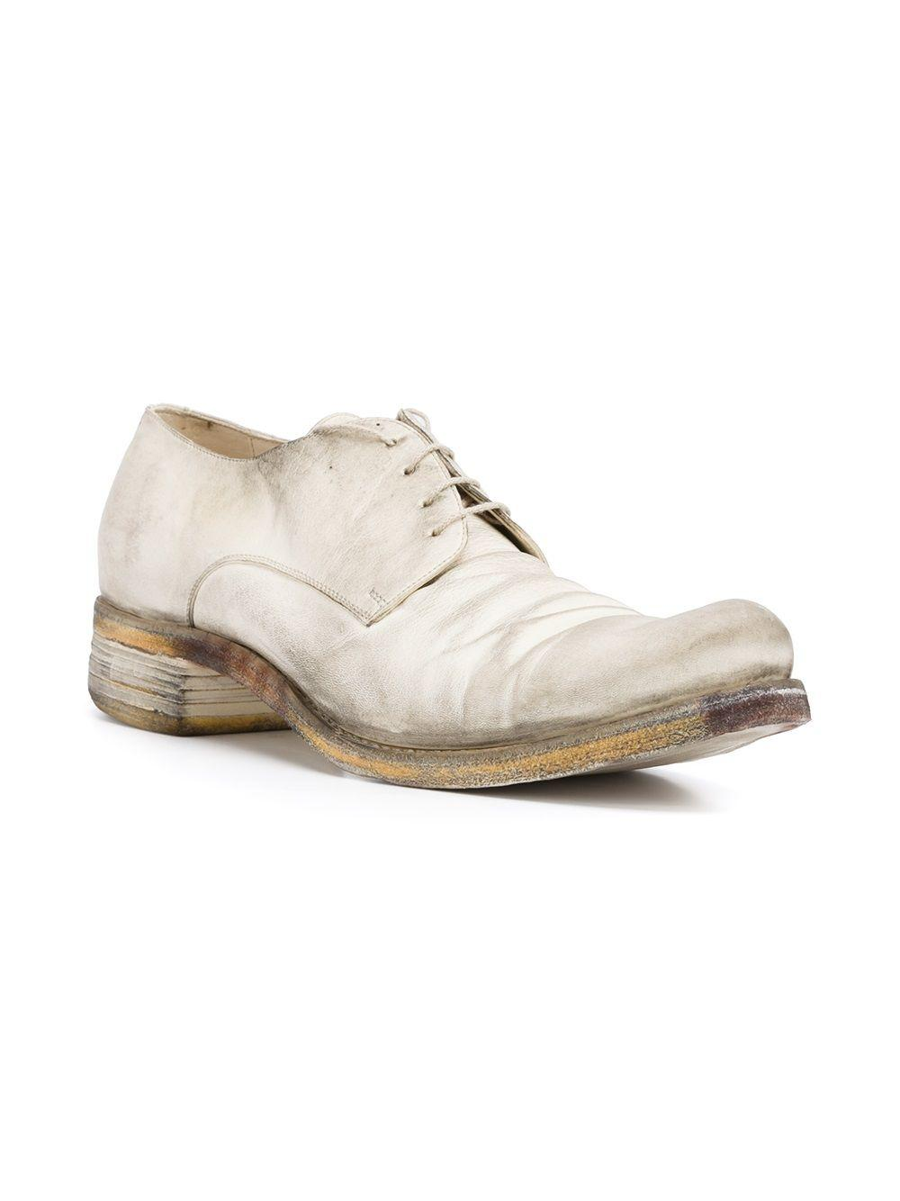 A Diciannoveventitre Leather Distressed Lace-up Shoes in White for Men