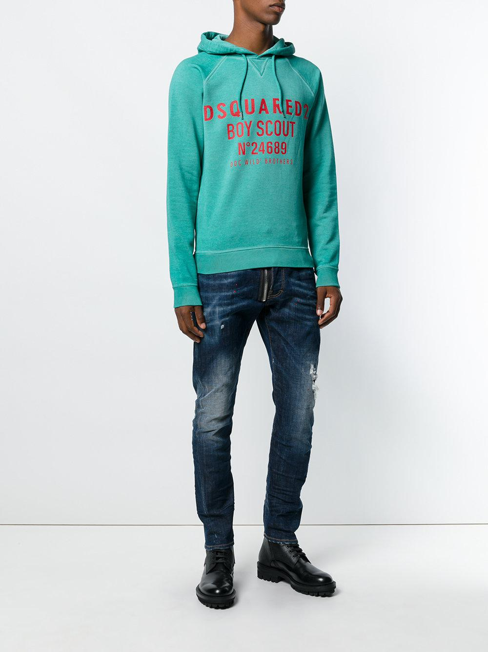 DSquared² Cotton Boy Scout Printed Hoodie in Green for Men