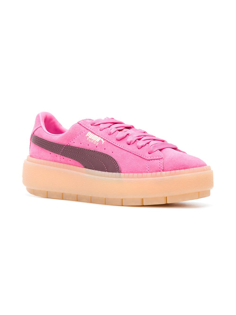lyst puma platform trace block women 39 s sneakers in pink. Black Bedroom Furniture Sets. Home Design Ideas