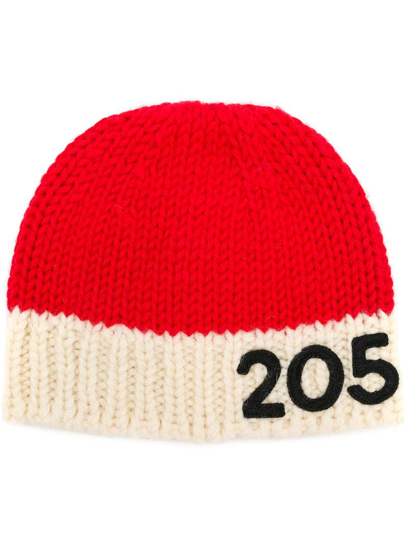 3029a192 Lyst - CALVIN KLEIN 205W39NYC Contrast Logo Beanie Hat in Red for Men