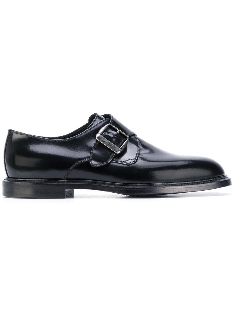 Dolce & Gabbana Leather Marsala Monk Strap Shoes in Black for Men