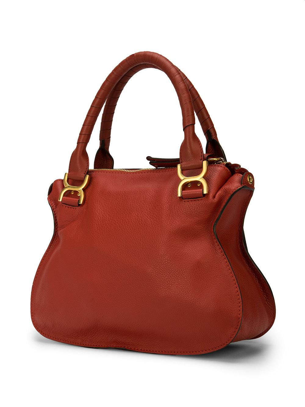 Chloé Leather Marcie Tote in Red