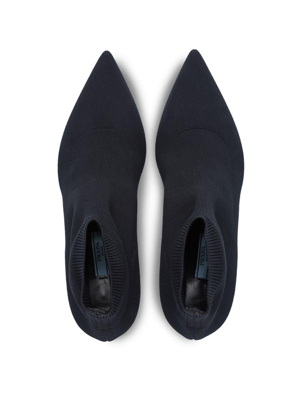 Prada Leather Sock Booties in Black