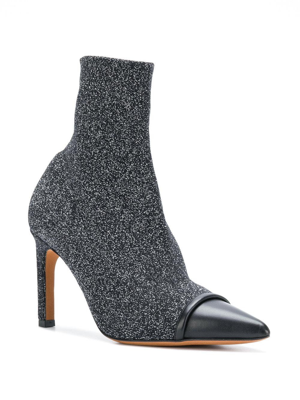 Givenchy Leather Contrast Toe Cap Ankle Boots in Black