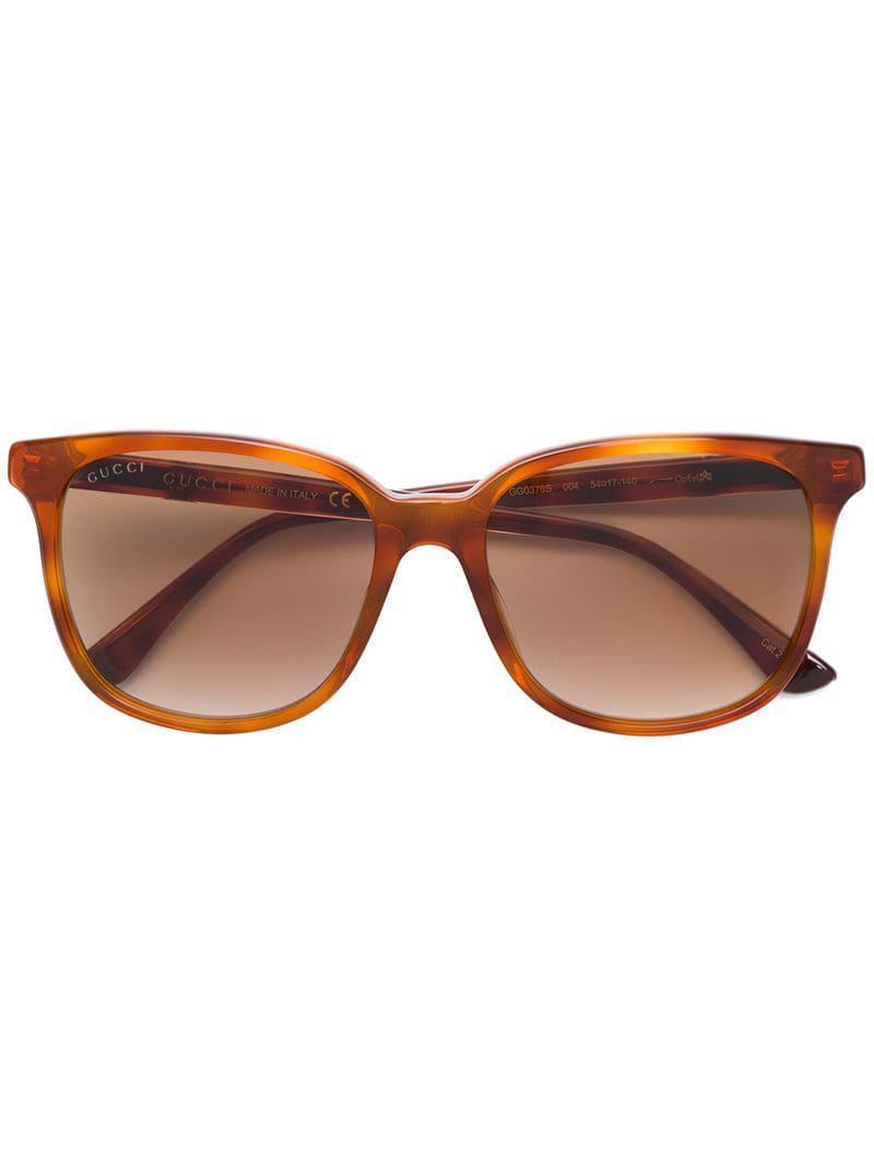 a7ff5a71482 Gucci Square Frame Sunglasses in Brown - Lyst