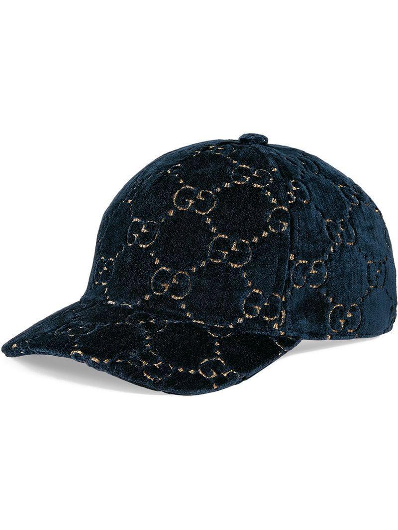 70529ef96541 Lyst - Casquette GG en velours Gucci en coloris Bleu