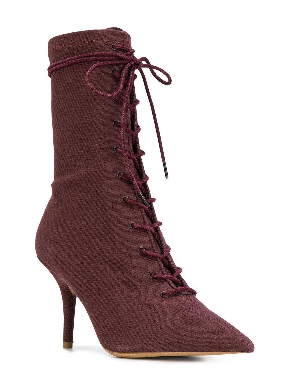 Yeezy Leather Lace-up Ankle Boots in Brown