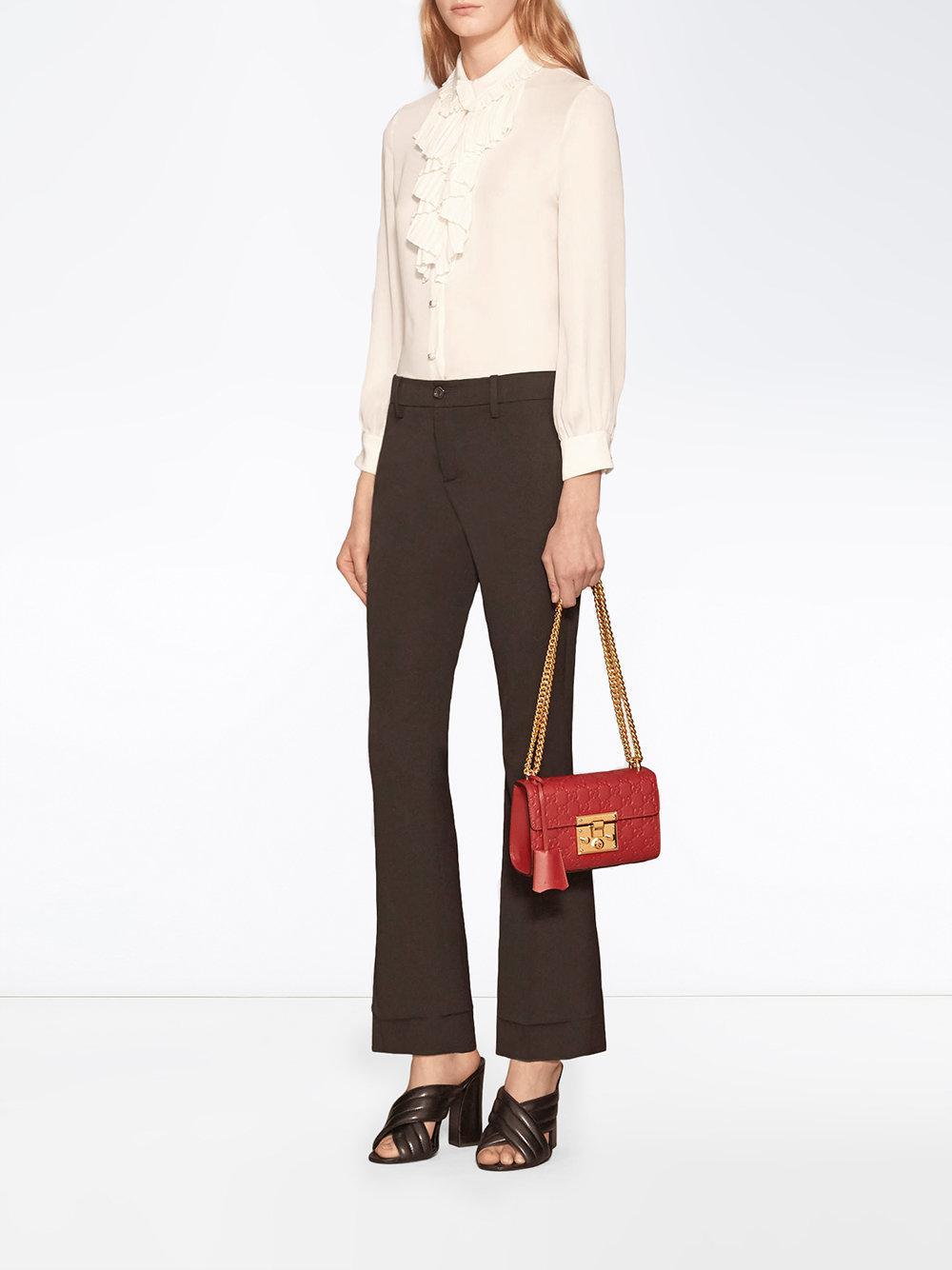 ab9083d7e132 Gucci - Red Small Padlock Signature Leather Shoulder Bag - Lyst. View  fullscreen