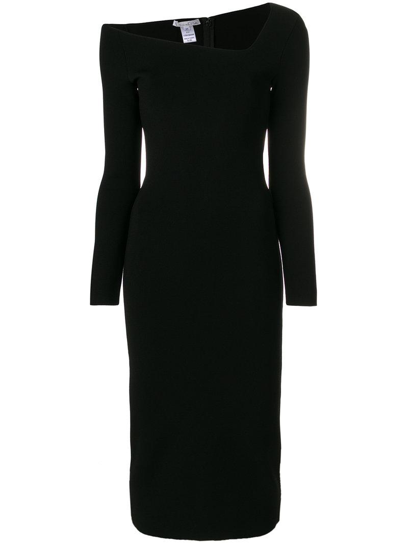 off-the-shoulder textured midi dress - Black Oscar De La Renta Pay With Paypal Cheap Online Designer Top-Rated Hot Sale Cheap Price Txhy9JR1