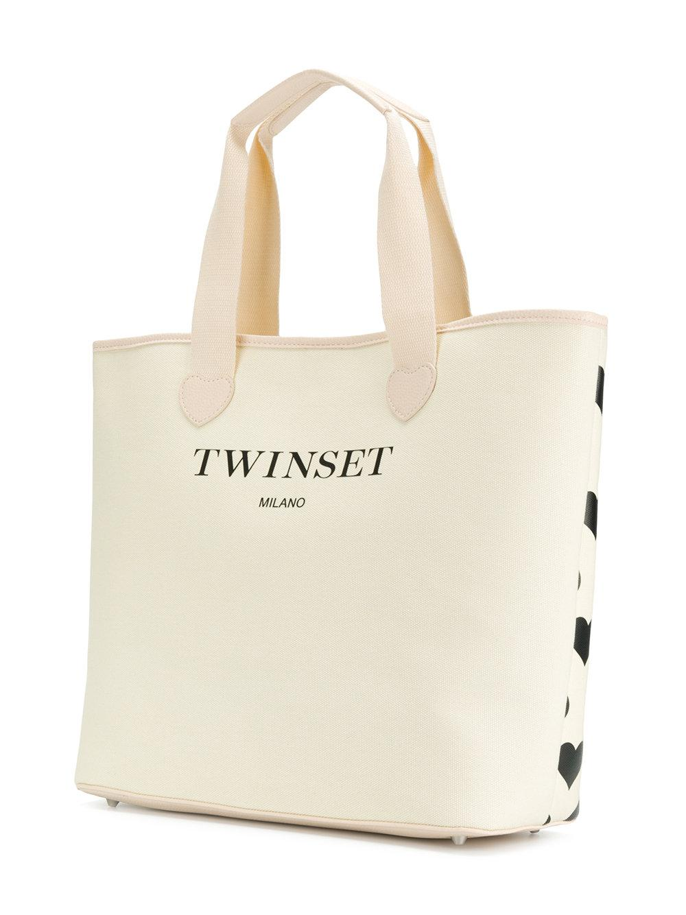 Twin Set Leather Printed Hearts Tote Bag in Natural